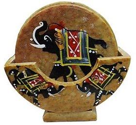 VIOM Elephant handpainted Marble Coaster Set