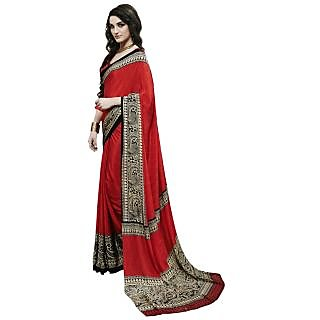 Triveni Red Crepe Printed Saree With Blouse