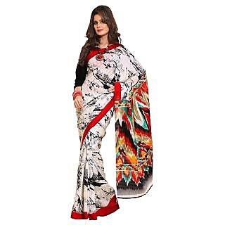 Triveni White Bhagalpuri Silk Printed Saree With Blouse