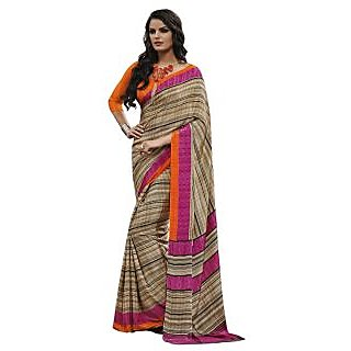 Triveni Beige Crepe Printed Saree With Blouse
