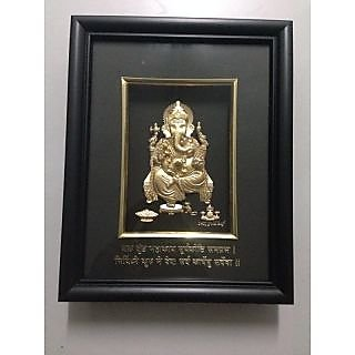 GANPATI FRAME MADE FROM 24KT GOLD.