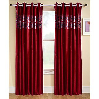 Fresh From Loom  Classy Eyelet Curtain Set of 2 (047)GDRed2-7)