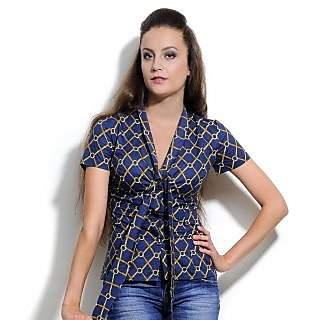 Women'S  Cotton Shirt Indigo & Gold