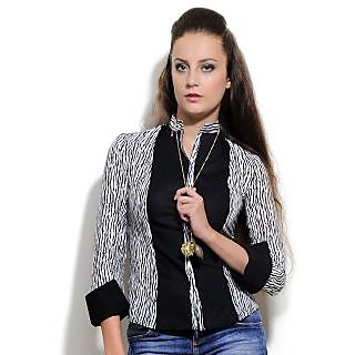 Women'S  Cotton Shirt Black & White Design 2