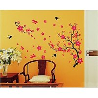 Walltola Black Branch With Flowers Wall Decal (30X31 Inch)