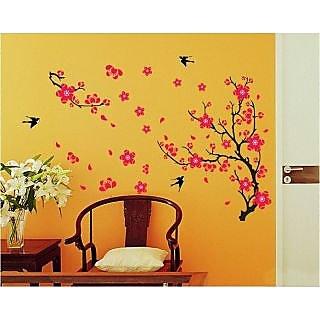 Walltola PVC Black Branch With Flowers Wall Sticker (30X31 Inch)   1 Pc