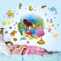 Walltola PVC Multicolor Girls Room Underwater Mermaid And Creatures Wall Sticker