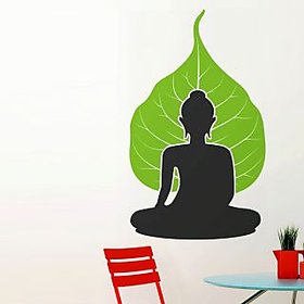 Walltola Wall Sticker - Buddha With Leaf Background 5717 (Dimensions 50x80cm)