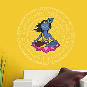 Walltola Krishna With Mantras Wall Sticker (20X28 Inch)