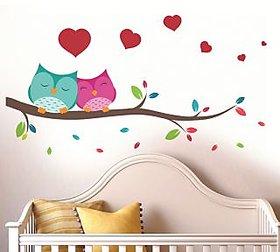 Walltola Pvc Multicolor Love Couple Owl Wall Sticker (37X33 Inch)