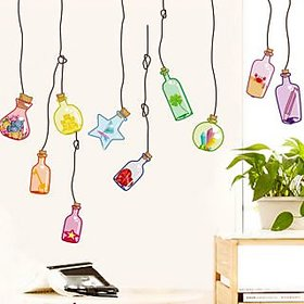 Walltola PVC Multicolor Wall Sticker - Beautiful Wall Drift Bottles 948 (Dimensions 120x50cm)  (No. of Pieces 1)