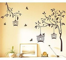 StyleMyCatalog Walltola Brown Wall Sticker-Tree With Birds And Cages (50X70 Cm)