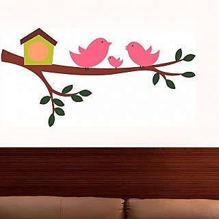 Walltola Pvc Multicolor Happy Birds Family Wall Decal (No of Pieces 1)