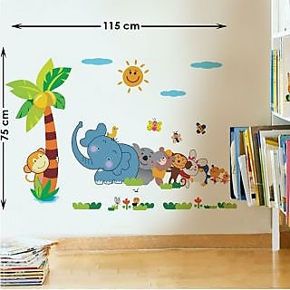 Walltola PVC Multicolor Jungle Cartoon Cute Animals Wall Decal (28X10 Inch)  (No Of Part 79