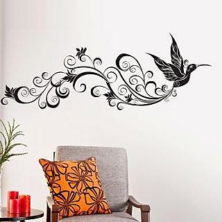 Walltola Wall Sticker - Bird With Floral Tail Black 5754 (Dimensions 120x65cm)