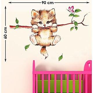 Eja Little Catty On Branch (Wall Sticker)