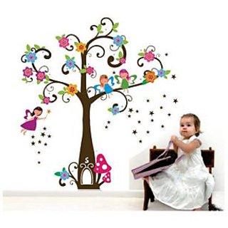 Walltola Colorful Angel Girl Tree Wall Decal