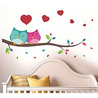 Walltola Pvc Multicolor Love Couple Owl Wall Decal (37X33 Inch)