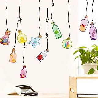 Walltola PVC Multicolor Wall Decal - Beautiful Wall Drift Bottles 948 (Dimensions 120x50cm)  (No. of Pieces 1)