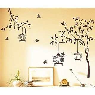 Walltola PVC Multicolor Nature Brown Wall Decal Tree With Birds And Cages  (50X70 Cm