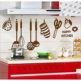 Walltola Multicolor Other Abstract Wall Stickers Wall Stickers Stylish Kitchen Art (60X45 Cm) (No of Pieces 1)
