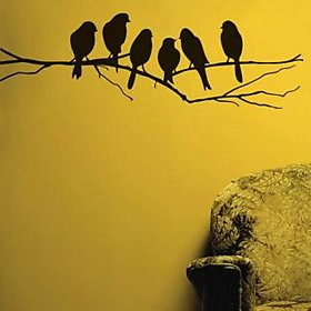 Wall Stickers Wall Decals Black Sparrows Branch (84X26 Cm)