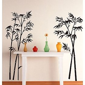 Walltola Pvc Beautiful Bamboo Tree Black Wall Sticker (47X43 Inch)