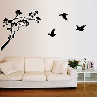 Walltola Black Floral Wall Decals Lollipop Tree Wall Stickers (60X45 Cm) Part 56