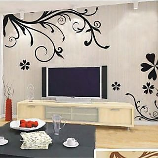 Captivating Walltola PVC Black Abstract Wall Sticker   Bedroom Design Art 7043 (150x100  Cms) (