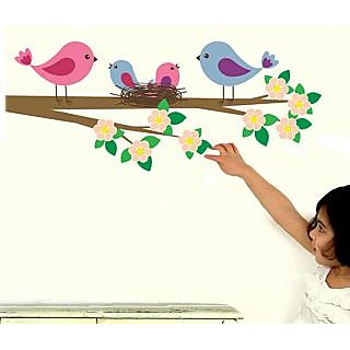 Walltola Pvc Flower Branch With Birds Family Wall Sticker (51X35 Inch)