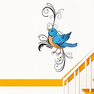 Walltola Pvc Pretty Blue Bird Wall Sticker (47X45 Inch)