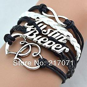 GirlZ! Justin Bieber Infinity double heart bracelet  black
