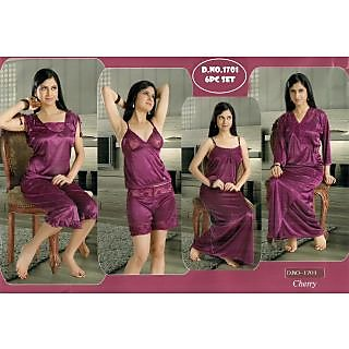 c53761721c Sexy 6pc Night Wear Set Top Shorts Sleep Shirt Capri Nighty Over Coat Fancy  Bedroom Lounge