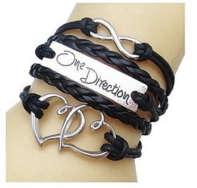 GirlZ! One Direction Infinity Leather Multilayer double heart bracelet  Black