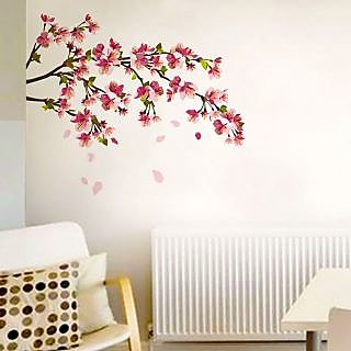 Walltola PVC Multicolor Floral Wall Stickers Sakura Cherry Blossom (90 X 80  Cmc) (