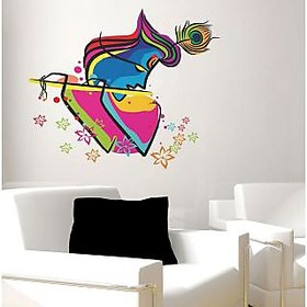 Walltola PVC Multicolor Wall Stickers Abstract Art Krishna (60 X 60 Cms) (No of Pieces 1)