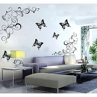 Bon Walltola PVC Black PVC Lovely Black Butterflies Nature Wall Sticker (24X35  Inch) (No