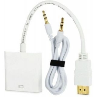 HDMI Male to VGA Female with Sound HDMI Cable (White)