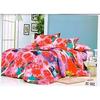 Valtellina Gorgeous Red Sunflower with Snow Print Double Bed sheet  (RG-002)