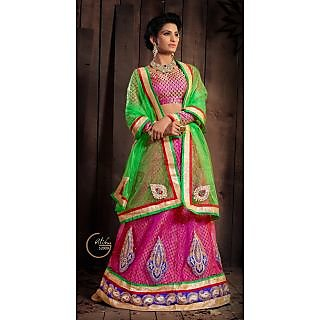 Jiya Women's pink and green net and jacquard  lehengha choli semistiched