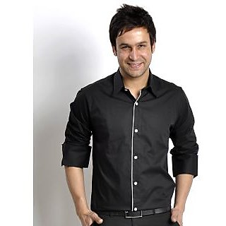 Men's Cotton Shirt Black Design 3 In India - Shopclues Online