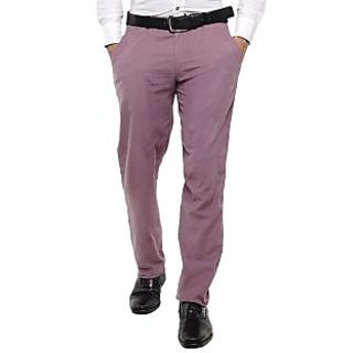 Men's Trouser With Black Belt Loop Purple