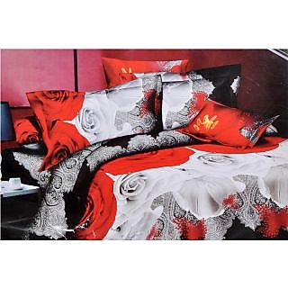 Valtellina Glorious Red & white Roses Traditional Double Bed Sheet (JF-017)