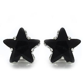 Silver Selection Star Shape Black Glass Earrings
