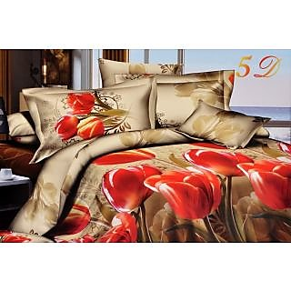 Valtellina Gorgeous Red Lotus With Green Leaf Print Double Bed Sheet (JF-024)