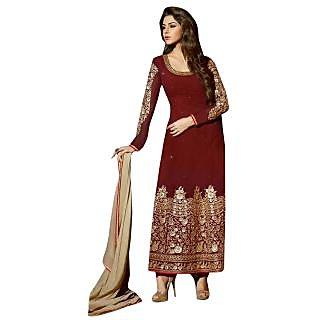 Triveni Striking Maroon Colored Embroidered Faux Georgette Salwar Kameez (Unstitched)