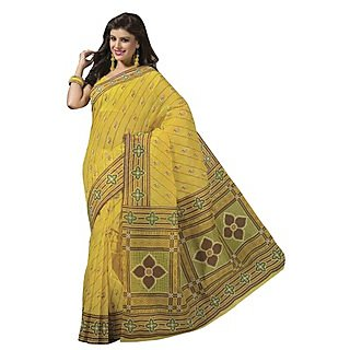 Triveni Yellow Cotton Printed Saree With Blouse