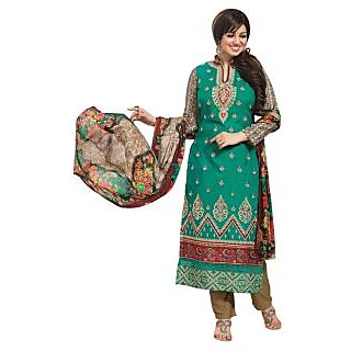 Triveni Glorious Green Colored Embroidered Cotton Salwar Kameez (Unstitched)