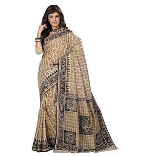 Triveni Beige Cotton Printed Saree With Blouse