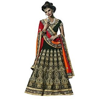 Triveni Auspicious Green Colored Intricate Embroidered Velvet Lehenga Choli